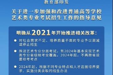 教育部发布2021年艺考改革最新政策:文化课成绩不低于50%