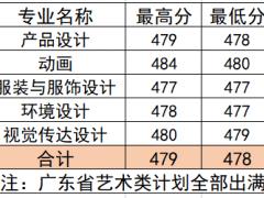 柳州工学院2021年广东省艺术类第一次投档情况