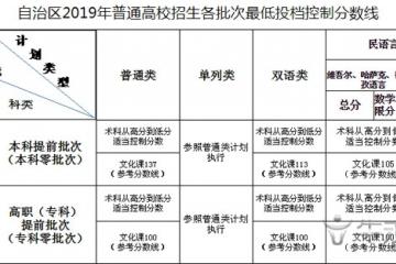 2019年新疆艺术类最低投档控制分数线